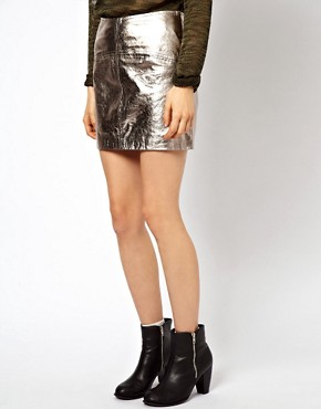 Image 4 ofASOS Mini Skirt in Metallic Leather