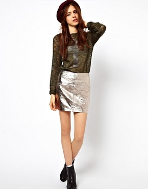 Image 1 ofASOS Mini Skirt in Metallic Leather