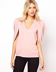 ASOS Top in Crepe with Deep V Neck
