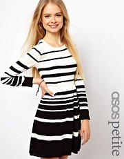 ASOS PETITE Exclusive Skater Dress In Stripes