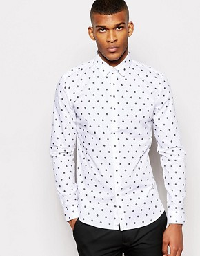 Reiss Shirt with Polka Dot Print in Slim Fit