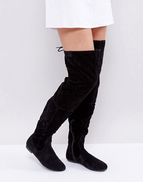 Черные сапоги выше колен со шнуровкой сзади Daisy Street - Черный