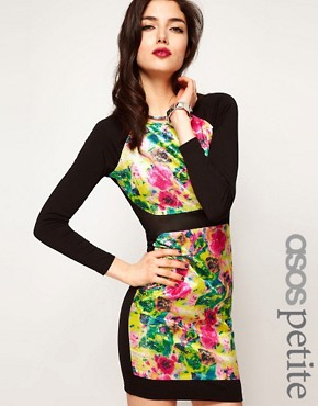 Image 1 ofASOS PETITE Exclusive Bodycon Dress with Floral Sequins
