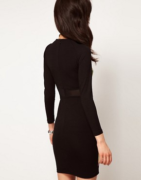 Image 2 ofASOS PETITE Exclusive Bodycon Dress with Floral Sequins