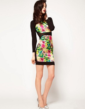 Image 4 ofASOS PETITE Exclusive Bodycon Dress with Floral Sequins