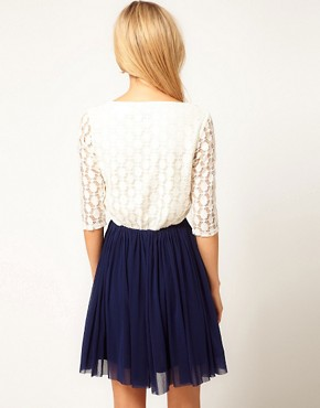 Image 2 ofASOS Skater Dress With Spot Lace &amp; Mesh Skirt