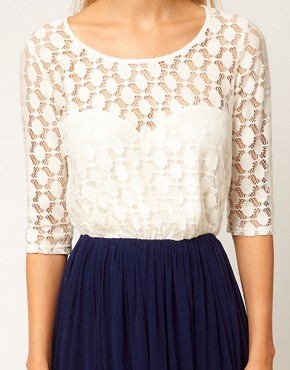Image 3 ofASOS Skater Dress With Spot Lace &amp; Mesh Skirt