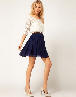 Image 4 ofASOS Skater Dress With Spot Lace &amp; Mesh Skirt