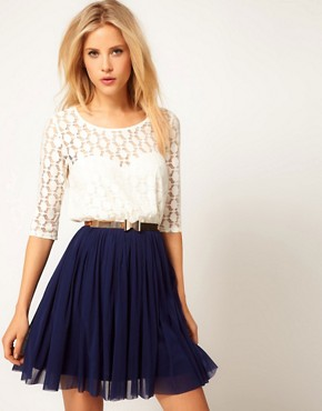 Image 1 ofASOS Skater Dress With Spot Lace &amp; Mesh Skirt