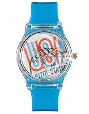 MAY 28TH Stamp Watch Blue Glossy Plastic Buckle