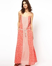 BA&SH Panelled Maxi Dress in Printed Cotton with Bead Detail