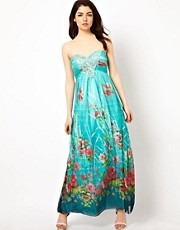 Little Mistress Printed Embellished Maxi Dress