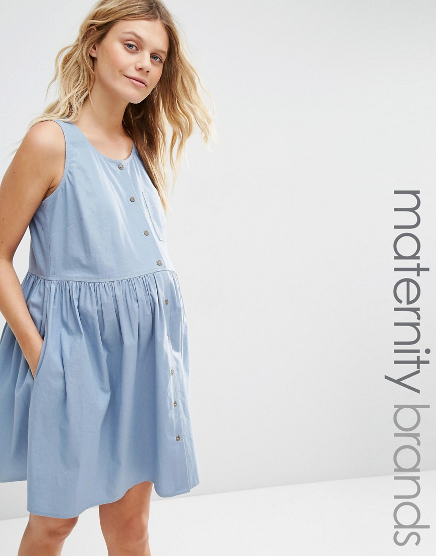 ASOS Maternity Chambray Button Through Sleeveless Smock Dress - Blue