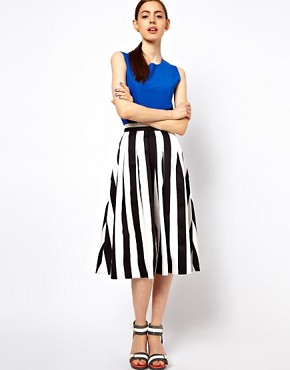 Image 1 ofASOS Midi Skirt In Bold Stripe