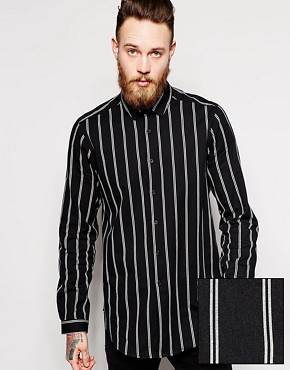ASOS Shirt In Longline with Stripe And Warm Handfeel
