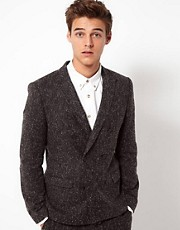 ASOS Slim Fit Suit Jacket in Charcoal Donegal