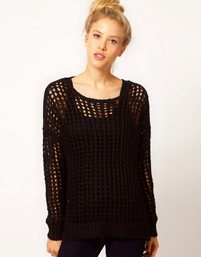 Image 1 ofRiver Island Long Line Open Weave Jumper