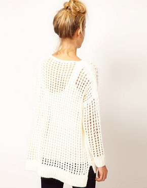 Image 2 ofRiver Island Long Line Open Weave Jumper