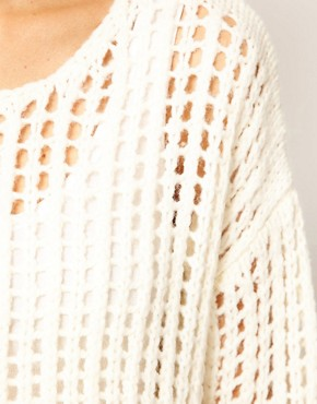 Image 3 ofRiver Island Long Line Open Weave Jumper