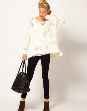Image 4 ofRiver Island Long Line Open Weave Jumper