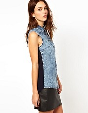 Warehouse Denim Front Shirt With Chiffon Back