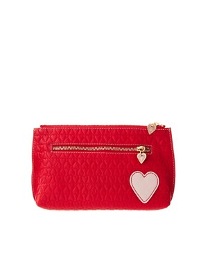 Image 1 ofTed Baker Leather Embossed Heart Make Up Bag With Mirror