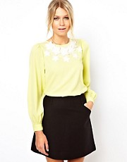 ASOS Blouse With 3D Floral Embroidered Neckline