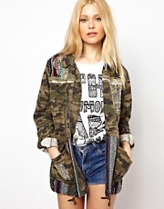 River Island Skull Embroidered Camo Jacket