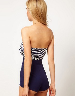 Image 2 ofASOS PETITE Exclusive Stripe Bandeau Playsuit