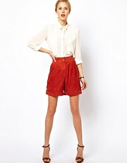 ASOS WHITE Suede Longline Shorts