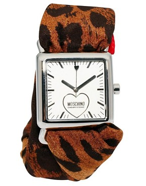Image 2 of Moschino Cheap & Chic Leopard And Red Trim Scarf Watch