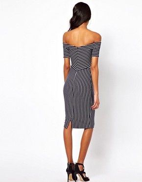 Image 2 ofASOS PETITE Exclusive Off Shoulder Stripe Dress