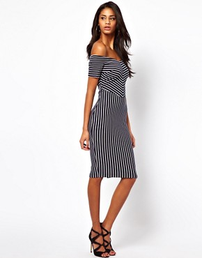 Image 4 ofASOS PETITE Exclusive Off Shoulder Stripe Dress