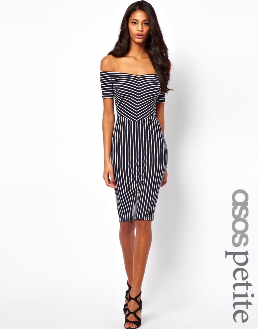Image 1 ofASOS PETITE Exclusive Off Shoulder Stripe Dress