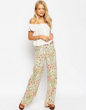 ASOS Occasion Wide Leg Trousers in Floral Print