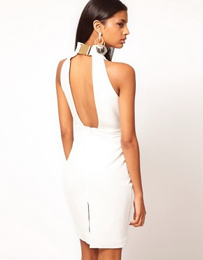 Image 1 ofAqua Secil Buckle High Neck Open Back Pencil Dress