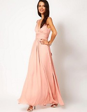 Halston Heritage Deep Plunge Silk Maxi Dress With Tie Waist