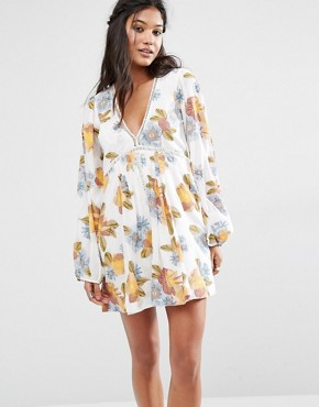 Free People Strawberry Fields Smock Dress in Floral Print