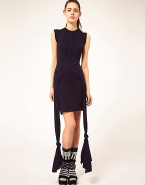 Image 1 ofDanielle Scutt Dress Jersey With Knot Detail