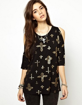Image 1 ofASOS T-Shirt with Oversized Cold Shoulder with Cross Print