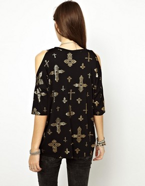 Image 2 ofASOS T-Shirt with Oversized Cold Shoulder with Cross Print