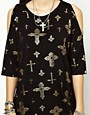 Image 3 ofASOS T-Shirt with Oversized Cold Shoulder with Cross Print