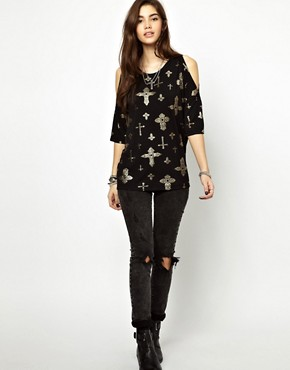 Image 4 ofASOS T-Shirt with Oversized Cold Shoulder with Cross Print