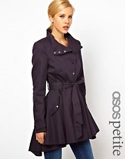 ASOS PETITE Popper Front Skater Trench