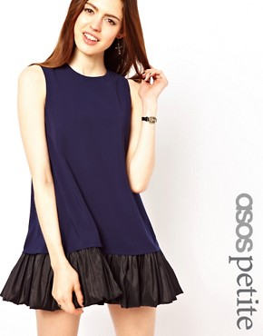 Image 1 ofASOS PETITE Exclusive Swing Dress with Ruffle Hem