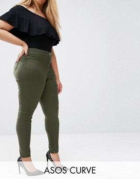 ASOS CURVE Rivington Jeggings In Khaki