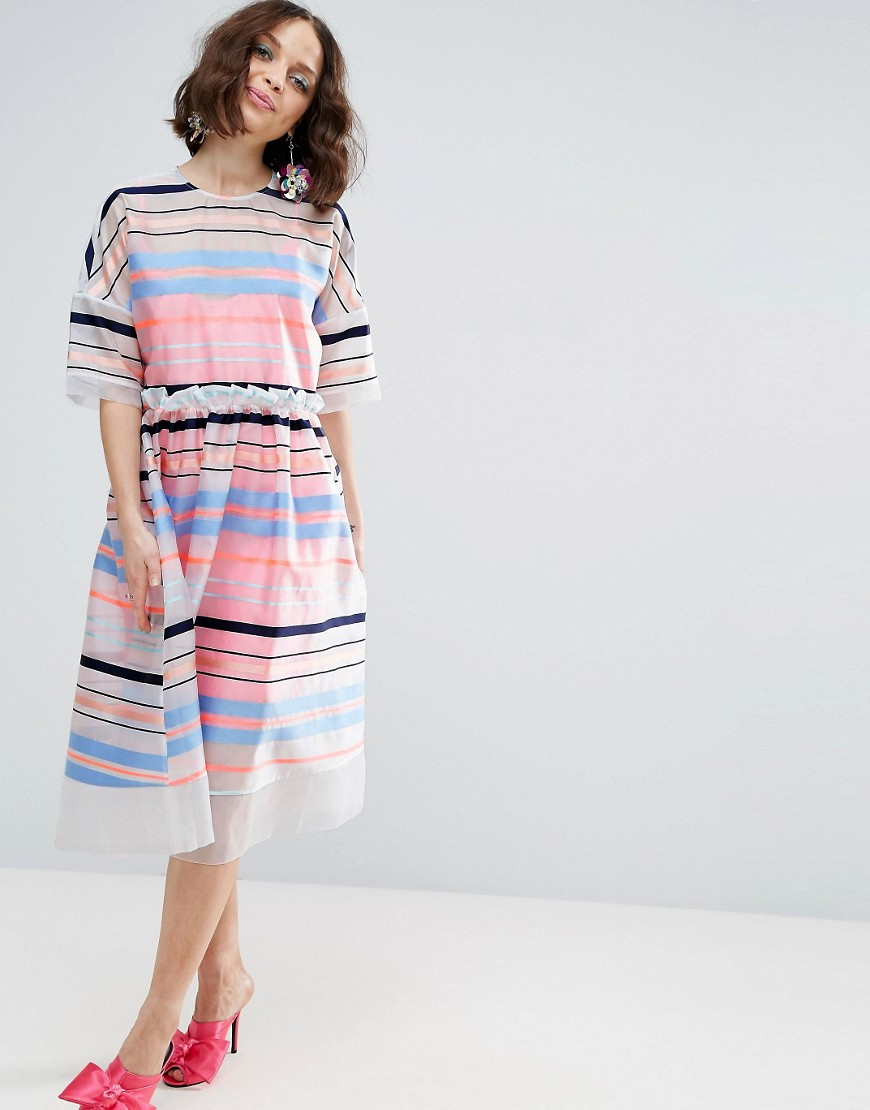 ASOS SALON Fluro Stripe Smock Dress - Multi