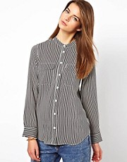 Equipment Silk Collarless Shirt