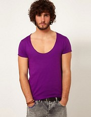 ASOS T-Shirt With Raw Edge U-Neck