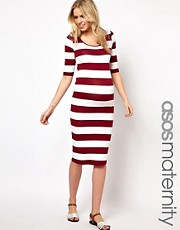 ASOS Maternity Exclusive Bodycon Midi Dress In Wide Stripe